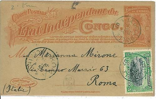 02424 -  CONGO Belge  - POSTAL HISTORY - STATIONERY CARD to ITALY  - 1907
