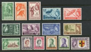 SARAWAK QE II  SCOTT#197/211, SG#188/202   MINT NH--SCOTT VALUE $120