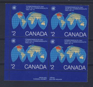 4x Canada $2.00 Map Stamp Plate Block Stamps #977 MNH Guide value = $62.50