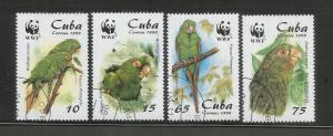 CUBA – 1998 – ENDANGERED BIRDS - #3961-3964 – SET OF 4 – USED/CTO