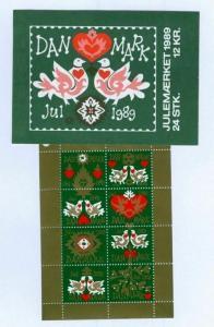 Denmark.  Booklet  1989  Christmas 24 Seals Mnh. Hearts, Stars, Birds