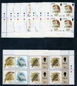 Niue 1993 QEII Birds Official set complete blocks MNH. SG O20-O30. Sc O20-O30.
