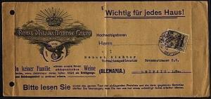 MOROCCO GERMAN PO 1912 advertising cover ex Tangier to Leipzig.............20009