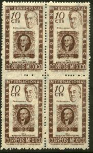 MEXICO 826 10c Cent Intl Phil Exh Roosevelt & Mex#1 BLK4(210