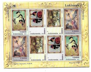 Indonesia 2002 paintings Sheetlet Sc 2013-2014c MNH