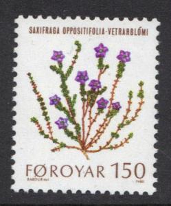 Faroe Islands 1980 MNH flowers 150ore  #