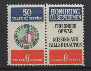 US 1970 6c Stamp Disabled Veterans & Servicemen Se-Tenant Scott 1421 - 2 MNH