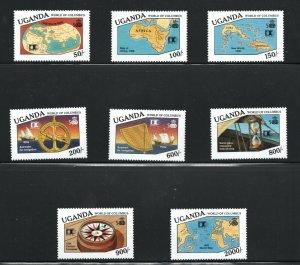 Uganda  (1992)  - Scott # 1024 - 1031,  MNH