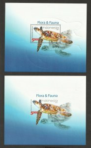 2014  INDONESIA - SG: MS 3638 & 3639  -  SEA TURTLE -  UNMOUNTED MINT PERF & IMP