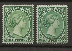Falkland Islands 9-9a SG 15-16 MLH VF 1881-92 SCV $47.00 (jr)