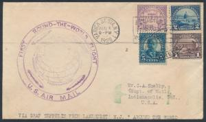#557, #570-572 1ST ROUND THE WORLD FLIGHT COVER BR3342