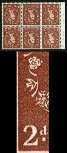 SB78aha 2d Light Red Brown Wmk Edward Inverted Retouched State Pane of 6 U/M