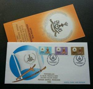Coronation Sultan Perak Azlan Shah Malaysia 1985 Royal King (stamp FDC) *rare