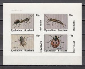 Eynhallow, 1982 issue. Insects on an IMPERF sheet/4. E3