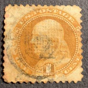 112 Used.  1869 1c Benjamin Franklin.