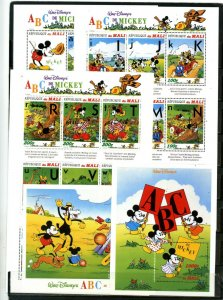 MALI 1996 WALT DISNEY MICKEY'S ABC'S 3 SHEETS OF 9 STAMPS & 2 S/S MNH
