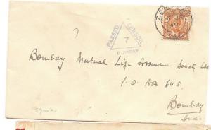 Zanzibar 1940 20c Sultan on Censor cover to India (bag)
