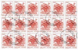Democratic Republic of Vietnam 3428 Used Sheet of 18 (SCV $4.50)