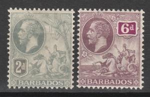 BARBADOS 1912 KGV SEAHORSES 2D AND 6D