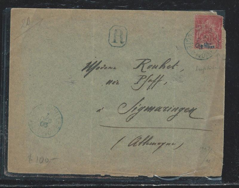 IVORY COAST  (PP2709B) 1905 LETTER WITH FRENCH BOAT CANCEL TO GERMANY