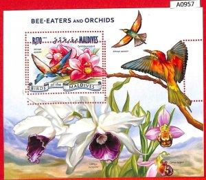 A0957 MALDIVES - ERROR  MISPERF SHEET - 2014  BIRDS ORCHIDS ПТИЦЫ ОРХИДЕИ