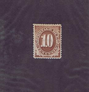 SCOTT# J19 UNUSED 10 CENT NO GUM POSTAGE DUE STAMP, 1884, PSE CERT.
