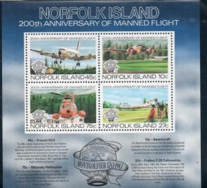 Norfolk Island Sc 313a 1983 Manned Flight stamp sheet mint NH