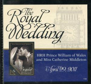BEQUIA ROYAL WEDDING OF PRINCE WILLIAM & KATE MIDDLETON IMPERF S/S I MINT NH