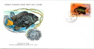 Saint Lucia, Worldwide First Day Cover, Fish