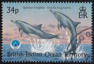 BIOT 1998 used Sc #206 34p Spinner dolphin Int'l Year of the Ocean