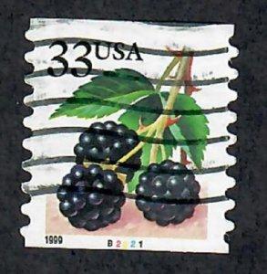 US #3304 Berries Used PNC Single plate #B2221