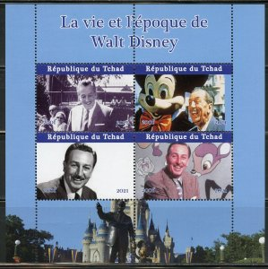 CHAD  2021 THE LIFE & TIMES OF WALT DISNEY SET OF TWO  SHEETS  MINT NEVER HINGED