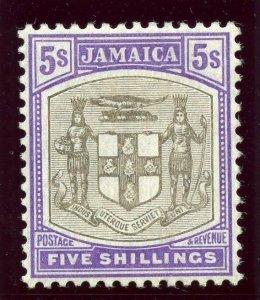 Jamaica 1905 KEVII 5s grey & violet MLH. SG 45. Sc 45.