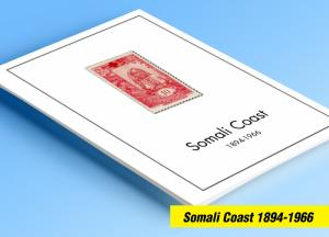 COLOR PRINTED SOMALI COAST 1894-1966 STAMP ALBUM PAGES (40 illustrated pages)