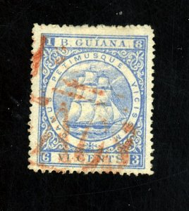BRITISH GUIANA #70 USED F-VF RED CANCEL Cat $120