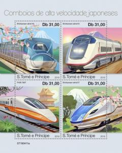 SAO TOME - 2019 - Japanese Speed Trains - Perf 4v Sheet - MNH