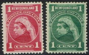 NEWFOUNDLAND 1897 QV 1C BOTH COLOURS