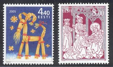 Estonia Sc 526-7 2005 Christmas stamps NH
