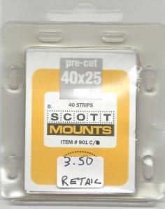 SCOTT MOUNT 901C, CLEAR, 40 MM X 25 MM, RETAIL $3.50