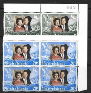 PITCAIRN ISLANDS SG124/5 1972 ROYAL SILVER WEDDING BLOCK OF 4  MNH