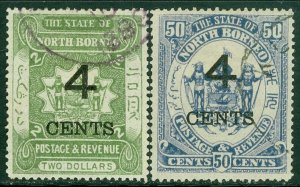 EDW1949SELL : NORTH BORNEO 1899 Sc #98, 100 VF Used Both w/ Postally Used cancel