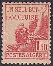Algeria # 164 hinged ~ 1.50fr One Aim Alone - Victory