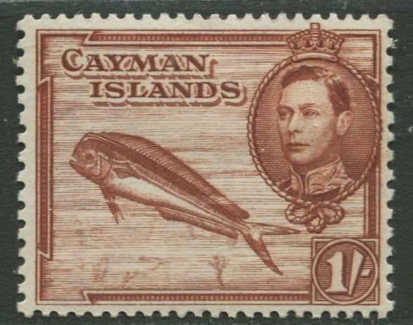 Cayman Islands - Scott 108 - KGVI Definitive -1938-43 - MH- Single 1/- Stamp