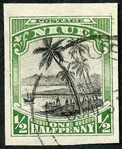 Niue SG44var 1/2d Imperf Proof postally used