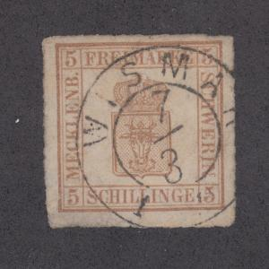 Mecklenburg-Schwerin Sc 8a used 1864 5sh bistre Coat of Arms on thick paper