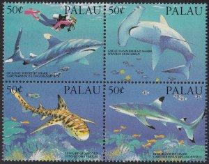 Palau 1993 MNH Sc 315 Block of 4 50c Sharks