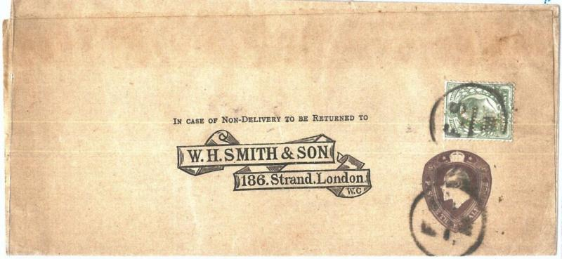 72445 - GREAT BRITAIN - POSTAL STATIONERY WRAPPER Printed to order PERFIN STAMP