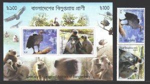 Bangladesh. 2012. 1105-6, bl50. Bangladesh fauna monkey vulture bird. MNH.