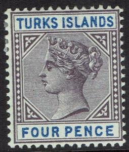 TURKS ISLANDS 1893 QV KEY TYPE 4D