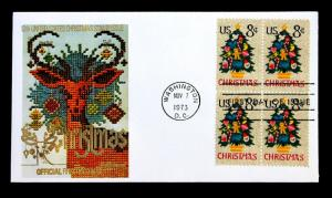US Stamp Sc# 1508 FDC Christmas 1973 Block 4 Fleetwood Cachet 1973 Unaddressed